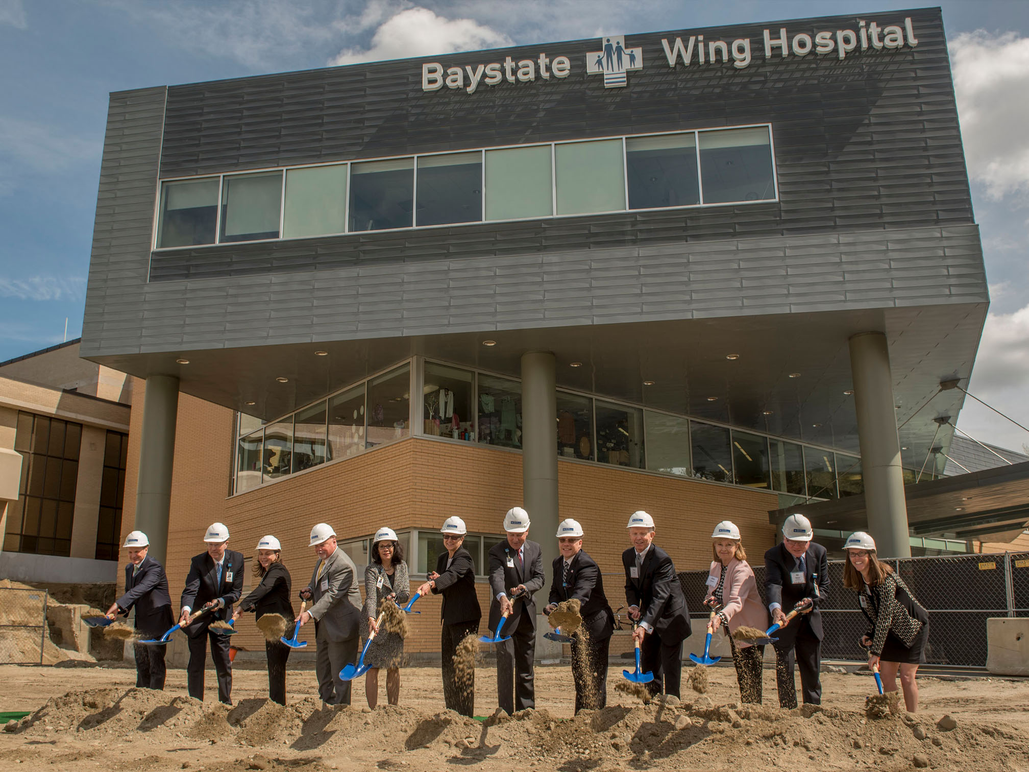 Photo - Executive Groundbreaking Group with Shovels at Baystate Wing Hospital Emergency Department Site